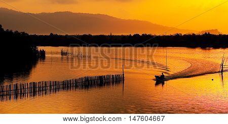 Beautiful Landscape silhouette sunrise in morning at Chanthaburi