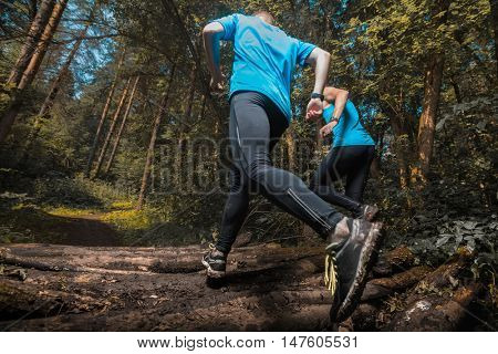 Two trail running athlete moving through the forest crossing wood barrier