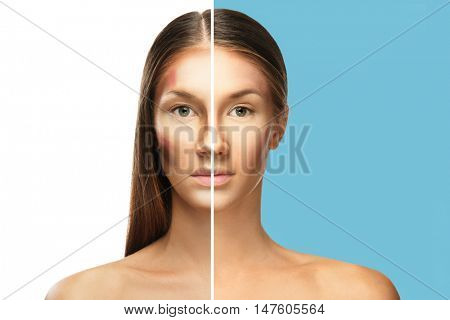 Woman face before and after professional makeup application. Facial contouring and blending makeup. Beauty concept