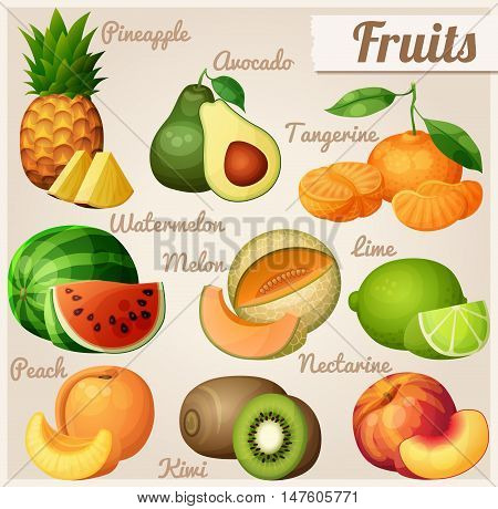 Set of food icons. Fruits. Pineapple ananas, avocado, mandarin tangerine, watermelon, melon cantaloupe , lime, peach, nectarine