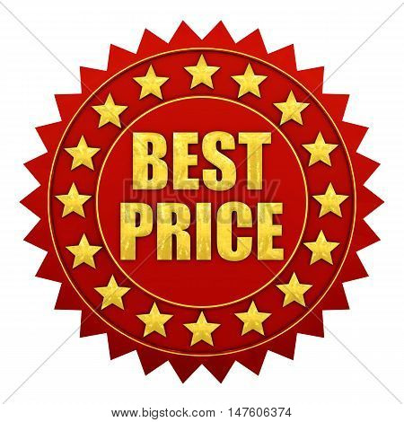 Best price warranty red and gold label , 3d illustration