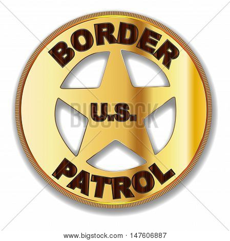 A typical Border Patrol Badge of the United Staes over a white background