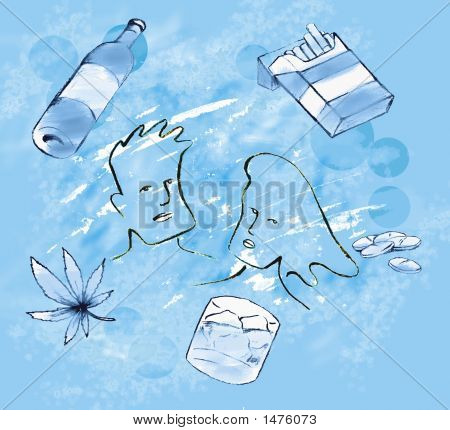 Drug Related Items With Blue Background