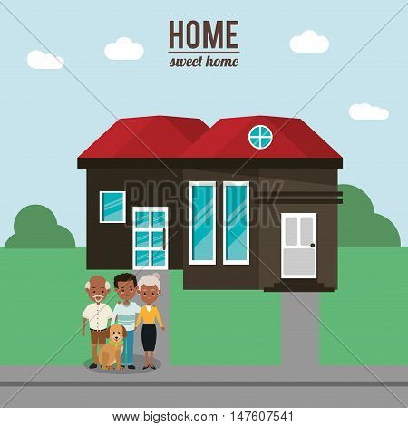House father man dog and grandparents icon. Home family and real estate theme. Colorful design. Vector illustration