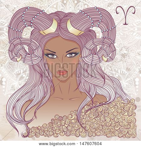 Zodiac. Vector illustration of the astrological sign of Aries as a portrait beautiful african american girl with long hair. The illustration on decorative grunge background in retro colors