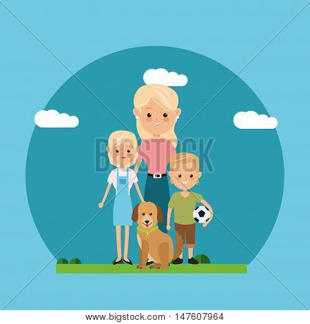 Mother woman dog and kids icon. Family relationship avatar and generation theme. Colorful design. Vector illustration