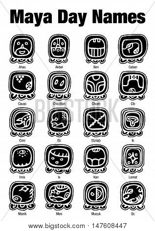Maya Day Names Glyphs in black color on white background