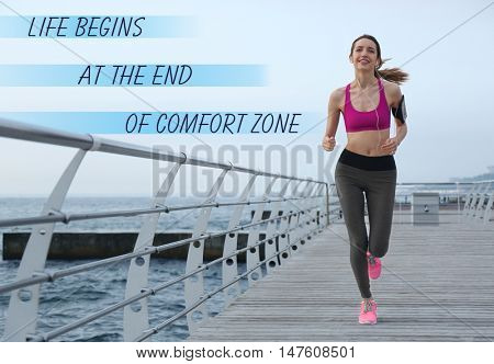 Comfort zone concept. Young woman running on pier