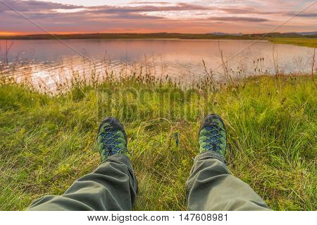Hiking Boots And Tundra Sunset At Iceland, Summer Time