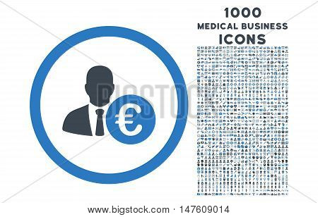 Euro Banker rounded vector bicolor icon with 1000 medical business icons. Set style is flat pictograms, smooth blue colors, white background.