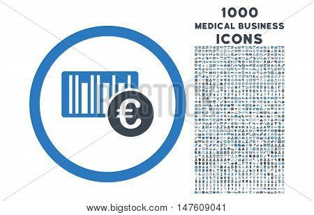 Euro Barcode rounded vector bicolor icon with 1000 medical business icons. Set style is flat pictograms, smooth blue colors, white background.