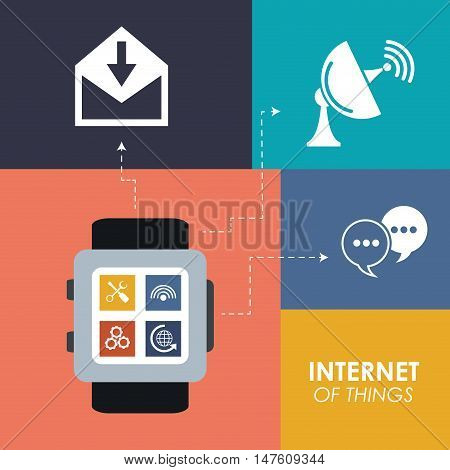 Watch envelope antenna and bubble icon. Internet of Things and media theme. Vector illustration