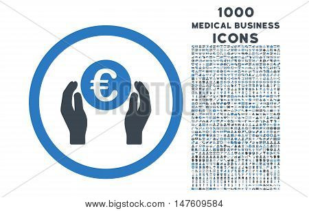 Euro Insurance Hands rounded vector bicolor icon with 1000 medical business icons. Set style is flat pictograms, smooth blue colors, white background.
