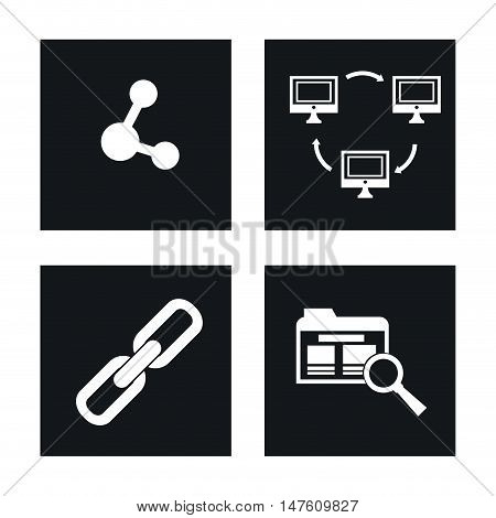 Share computer file and lupe icon. Internet of Things and media theme. Vector illustration
