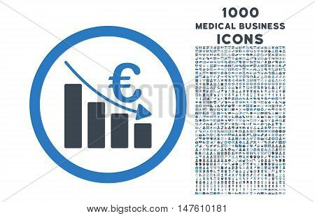 Euro Recession rounded vector bicolor icon with 1000 medical business icons. Set style is flat pictograms, smooth blue colors, white background.