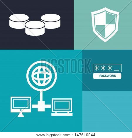 Computer global laptop password shield and data base icon. Internet of Things and media theme. Vector illustration
