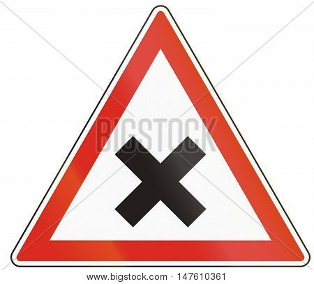 Hungarian Regulatory Road Sign - Crossroads With Right-of-way From The Right