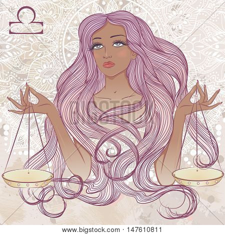 Zodiac. Vector illustration of the astrological sign of Libra as a portrait beautiful african american girl with long hair. The illustration on decorative grunge background in retro colors