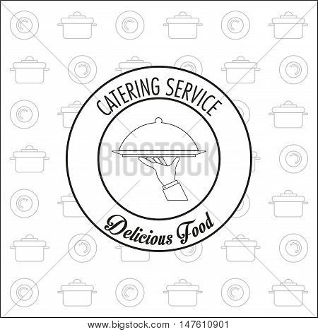 Plate hand and cooking pot icon. Catering service restaurant and menu theme. Vector illustration