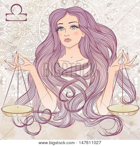 Zodiac. Vector illustration of the astrological sign of Libra as a portrait beautiful girl with long hair. The illustration on decorative grunge background in retro colors