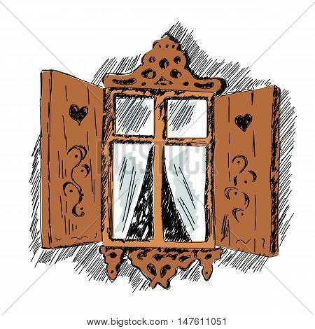 sketch of a carved wooden decorative lace decoration window. Old wooden house hand drawn illustration