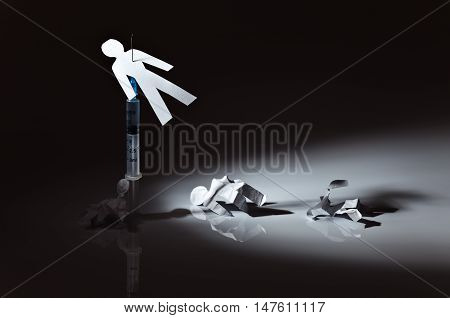 The conceptual image on a theme of narcotic dependence white reflective background.