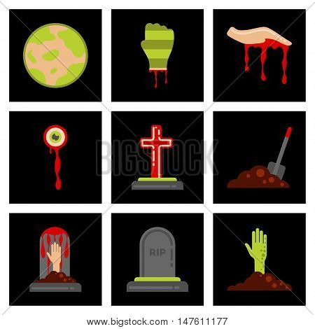 assembly of flat icons halloween zombie hand grave full moon zombie hand grave Plot shovel