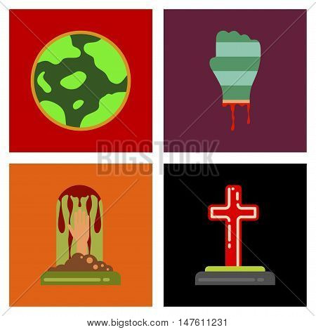 assembly of flat icons halloween zombie hand grave full moon