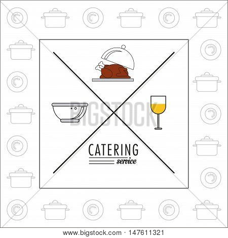 Plate chicken bowl and cup icon. Catering service restaurant and menu theme. Vector illustration