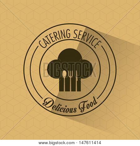 Fork spoon knife cutlery inside chefs hat icon. Catering service restaurant and menu theme. Vector illustration