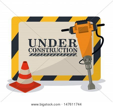 Barrier cone and demolishing drill icon. Under construction and repair theme. Isolated and colorful design. Vector illustration