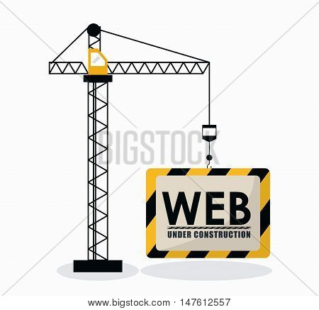 Crane and barrier icon. Under construction and repair theme. Isolated design. Vector illustration