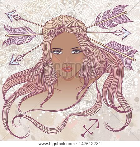 Zodiac. Vector illustration of the astrological sign of Sagittarius as a portrait beautiful african american girl with long hair. The illustration on decorative grunge background in retro colors