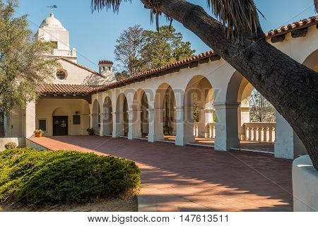 SAN DIEGO, CALIFORNIA - AUGUST 13, 2016: Serra Mission Museum in Old Town, named after Father Junipero Serra, the former site of a fort and the first European settlement on the Pacific Coast.