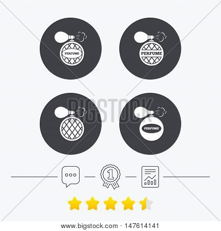 Perfume bottle icons. Glamour fragrance sign symbols. Chat, award medal and report linear icons. Star vote ranking. Vector