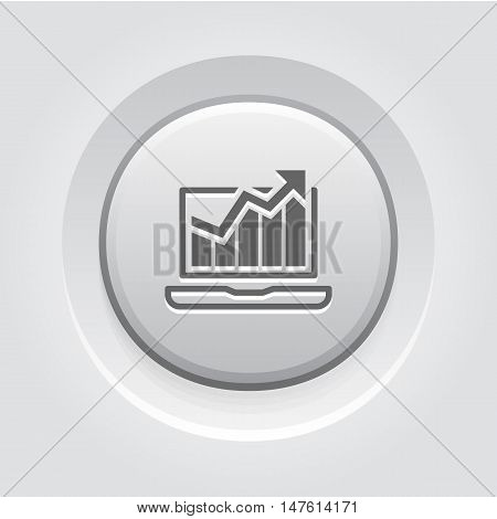 Traffic Icon. Grey Button Design. Isolated Illustration. App Symbol or UI element. Laptop with Growing Graph.