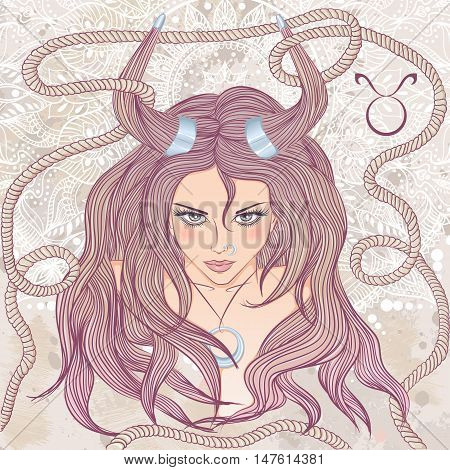 Zodiac. Vector illustration of the astrological sign of Taurus as a portrait beautiful girl with long hair. The illustration on decorative grunge background in retro colors