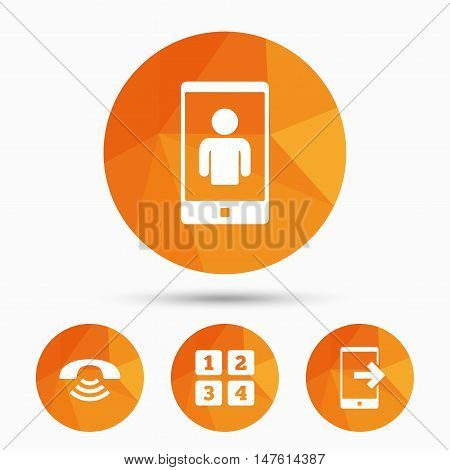 Phone icons. Smartphone video call sign. Call center support symbol. Cellphone keyboard symbol. Triangular low poly buttons with shadow. Vector