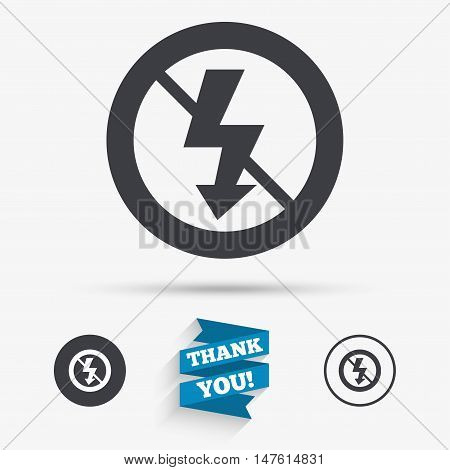 No Photo flash sign icon. Lightning symbol. Flat icons. Buttons with icons. Thank you ribbon. Vector