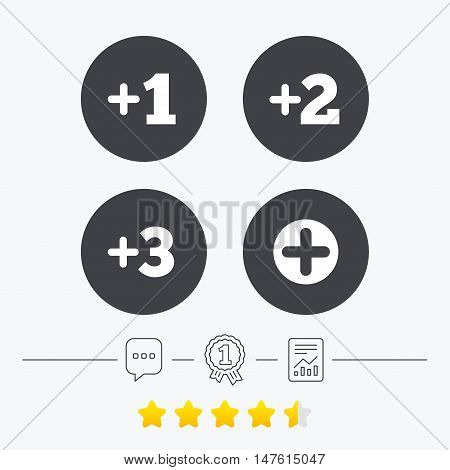 Plus icons. Positive symbol. Add one, two, three and four more sign. Chat, award medal and report linear icons. Star vote ranking. Vector