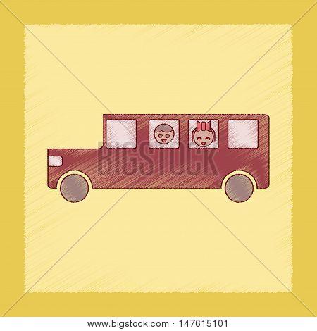 flat shading style icon of school bus