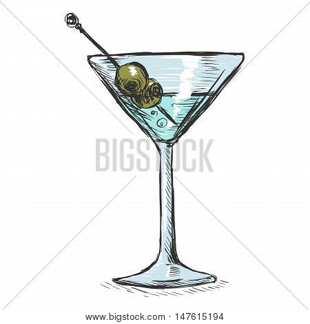 Vector Color Sketch Martini Glass With Olives