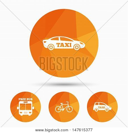 Public transport icons. Free bus, bicycle and taxi signs. Car transport symbol. Triangular low poly buttons with shadow. Vector