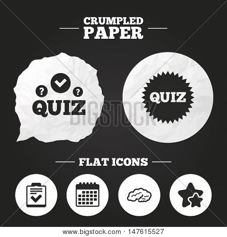 Crumpled paper speech bubble. Quiz icons. Human brain think. Checklist symbol. Survey poll or questionnaire feedback form. Questions and answers game sign. Paper button. Vector