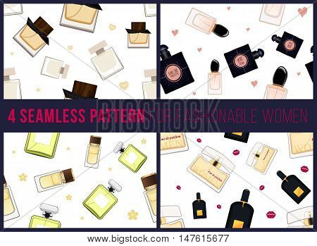 Four seamless pattern for fashionable women. It can be used for packing. Women fragrance. Eau de toilette. Perfume for female. Vector illustration