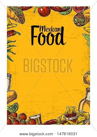 Mexican traditional food restaurant menu template with traditional spicy dish. burrito, tacos, chili, tomato, nachos, tequila, lime. Vector vintage engraved illustration Isolated on yellow background.