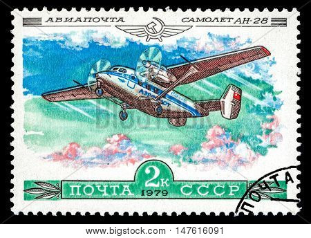 USSR - CIRCA 1979: The postal stamp printed in USSR (Russia) shows airplane An-28 circa 1979