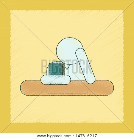 flat shading style icon of schoolboy books