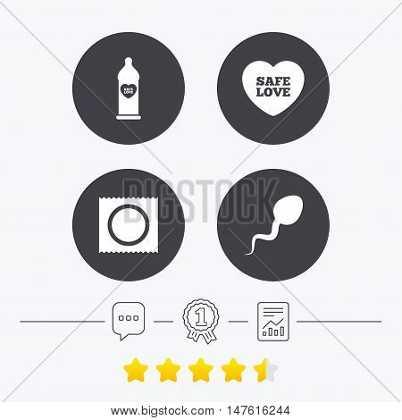 Safe sex love icons. Condom in package symbol. Sperm sign. Fertilization or insemination. Chat, award medal and report linear icons. Star vote ranking. Vector