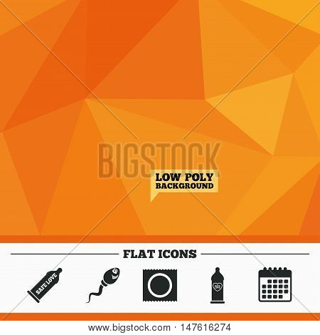 Triangular low poly orange background. Safe sex love icons. Condom in package symbol. Sperm sign. Fertilization or insemination. Heart symbol. Calendar flat icon. Vector
